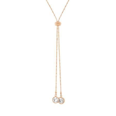 Dangle Multi Chain Necklace - Lesa Michele Women's White Cubic Zirconia 24