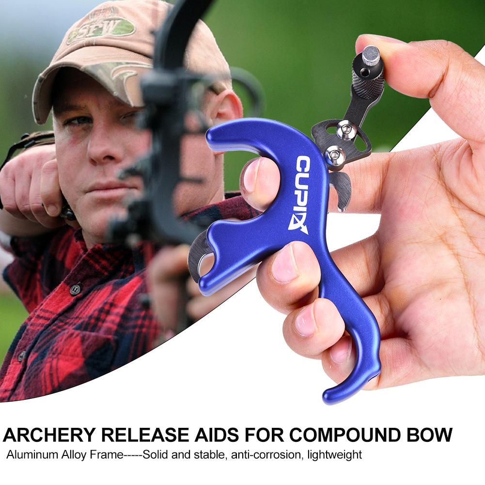 Compound Bow Release Aids Thumb Trigger 3 Finger Caliper Grip Archery Shooting