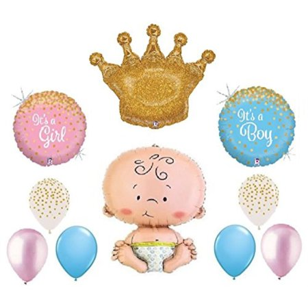 Gender Reveal Welcome Little Prince Princess Royal Boy Girl Confetti Print Baby Shower 10 Piece Mylar and Latex Balloons Set - Prince And Princess Party