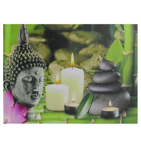 """LED Lighted Buddha and Bamboo Canvas Wall Art 12"""" x 15.75"""""""