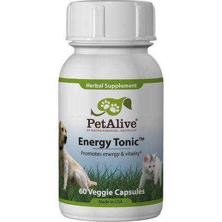PetAlive Energy Tonic  - All Natural Herbal Supplement Promotes Energy and Vitality in Cats and Dogs Including Older Pets - 60 Veggie