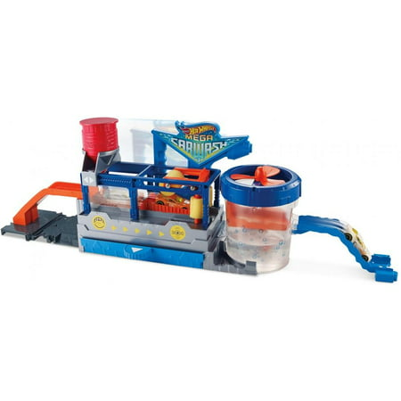 Hot Wheels Color Change Mega Car Wash and Cars and Conveyer Belt Track (Party City Hot Wheels)