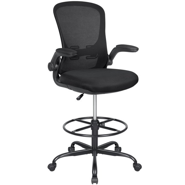Walnew Mid-back Drafting Office Chair Adjustable Height Desk Chair Ergonomic Design Office Chair With Flip-up Armrest And Foot Ring(Black)