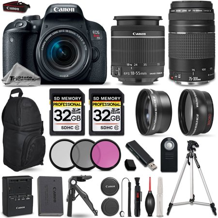 Canon EOS Rebel T7i Camera + 18-55mm STM + 75-300mm + 3PC Filter Kit - 64GB (Pentax K3 Vs Nikon D7100 Vs Canon 70d)