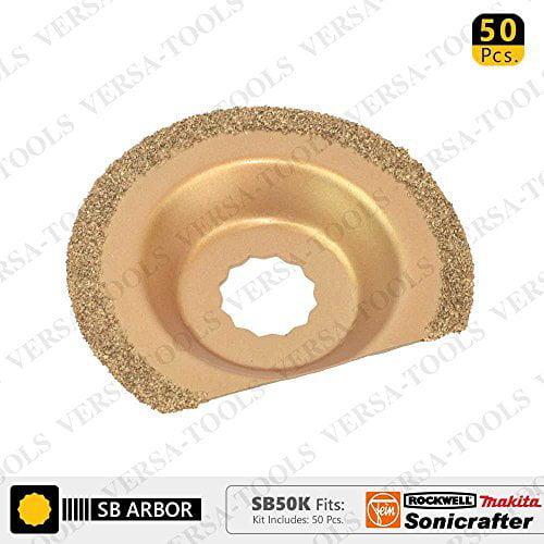 Versa Tool SB50K 63mm Semi-Circular Carbide RASP, 8mm Offset Mount Fits Fein Multimaster, Rockwell, Sonicrafter, Makita Oscillating Tools - 50/Pack