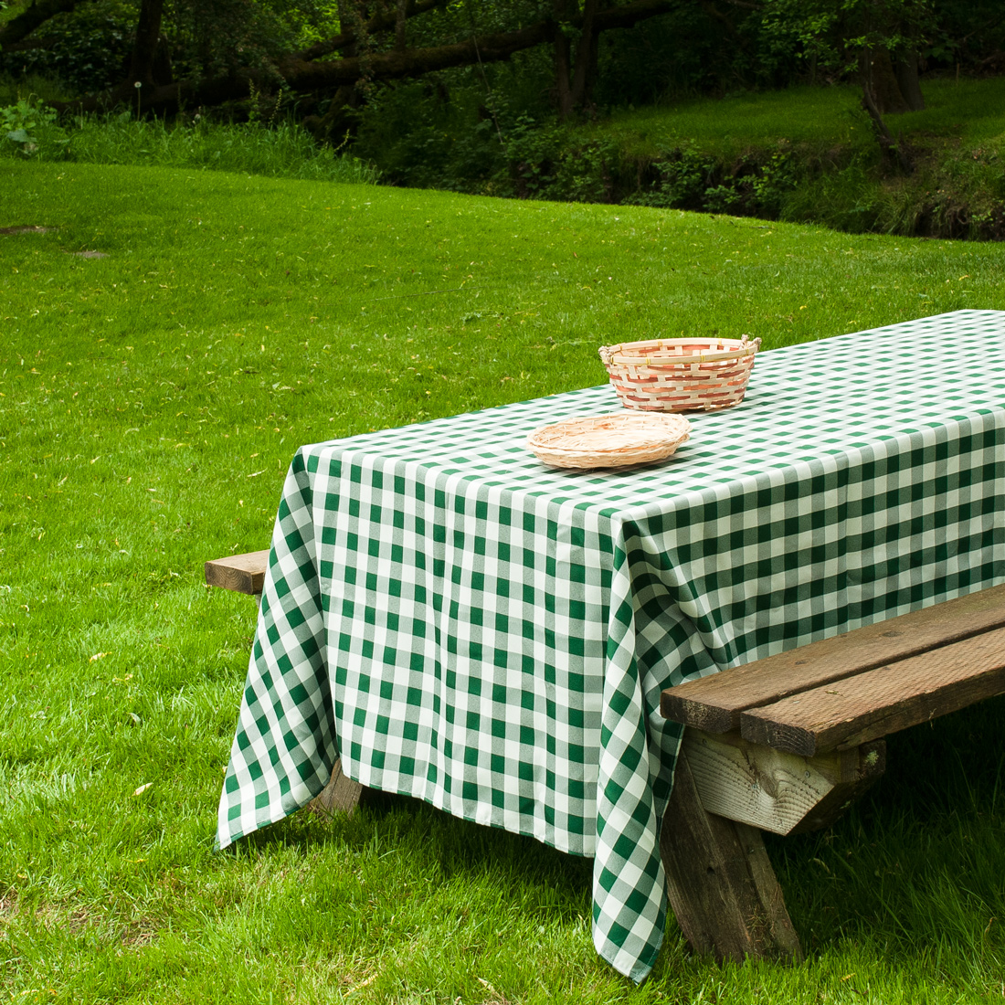 Rectangular Tablecloth Green U0026amp; White Checkered