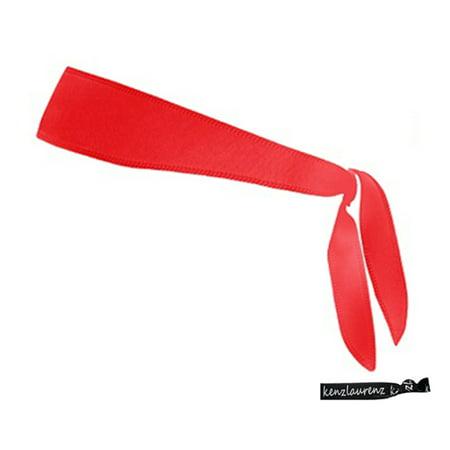 Kenz Laurenz Tie Back Headband Moisture Wicking Athletic Sports Head Band Red - Tie Headband