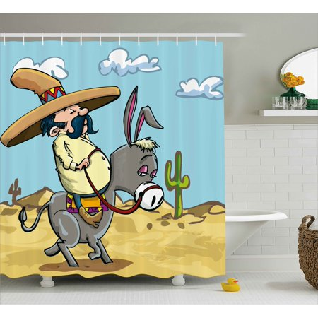 Cartoon Shower Curtain, Mexican Man Wearing Sombrero Hat Riding a Donkey in the Desert with Cactus Plants, Fabric Bathroom Set with Hooks, Multicolor, by Ambesonne