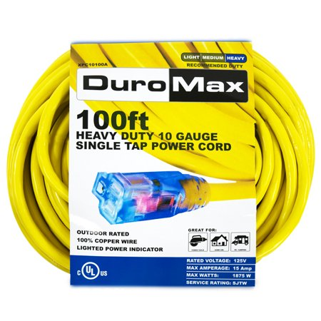 DuroMax XPC10100A 100-Foot 10 Gauge Single Tap Extension Power - 100 Foot Generator Power Cord