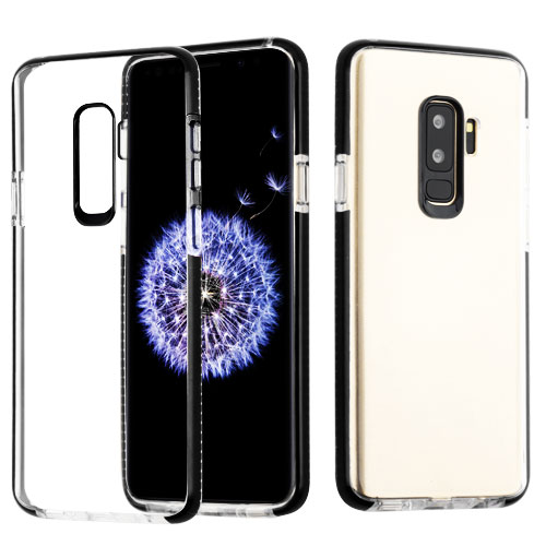 Samsung Galaxy S9 Plus - Phone Case Clear Shockproof Hybrid Bumper Rubber Silicone Gel Cover Transparent Clear - Black