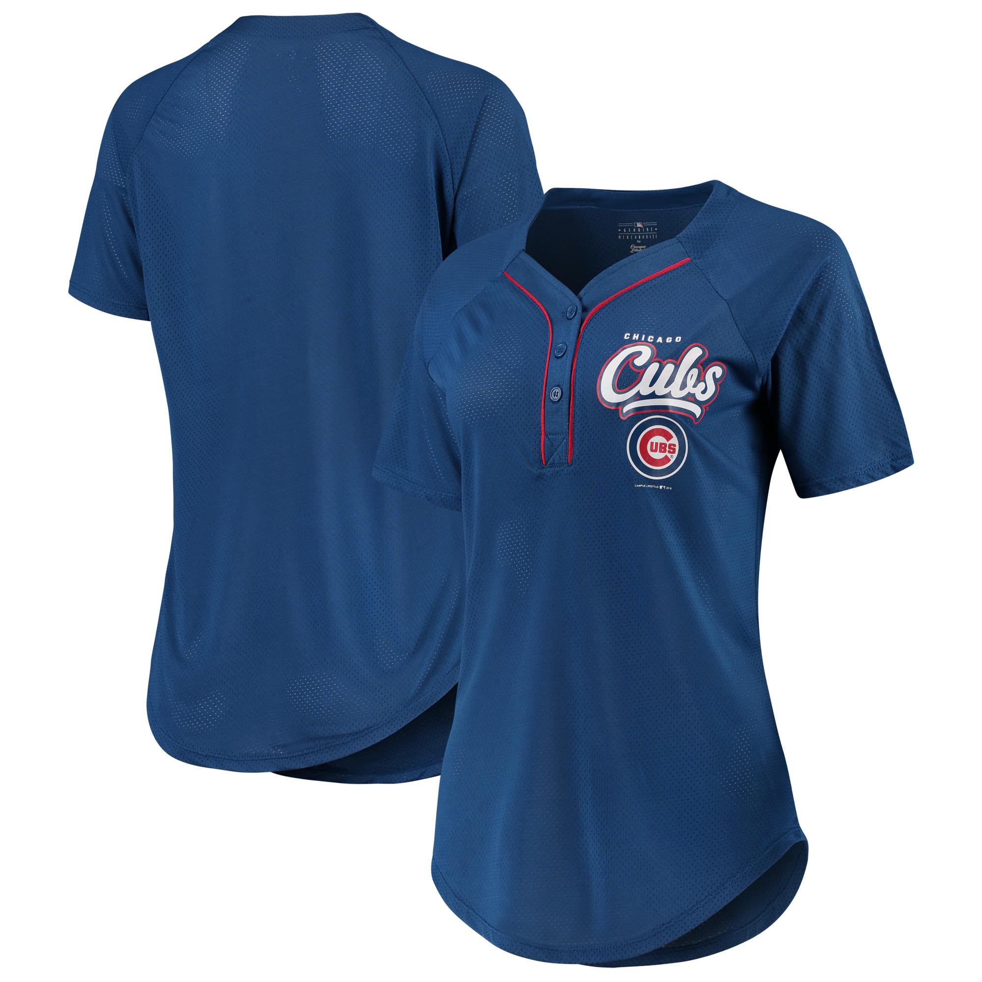 Women's New Era Royal Chicago Cubs Henley Mesh Jersey T-Shirt