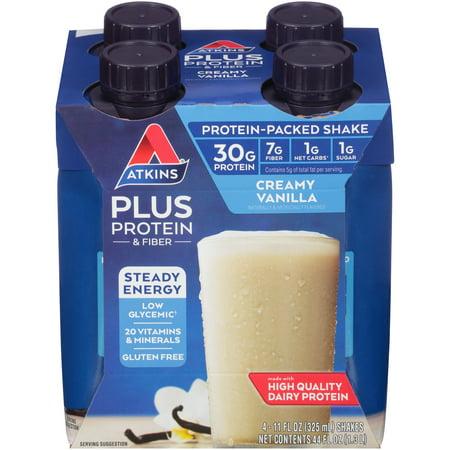 Atkins PLUS Protein & Fiber Creamy Vanilla Shake, 11 fl oz, 4-pack (Ready To