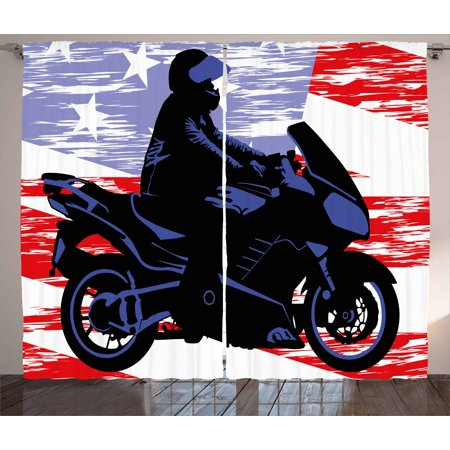Room Decor Curtains 2 Panels Set Man On Motorcycle Riding American Flag Backdrop National Usa Grunge Image Window D For Living
