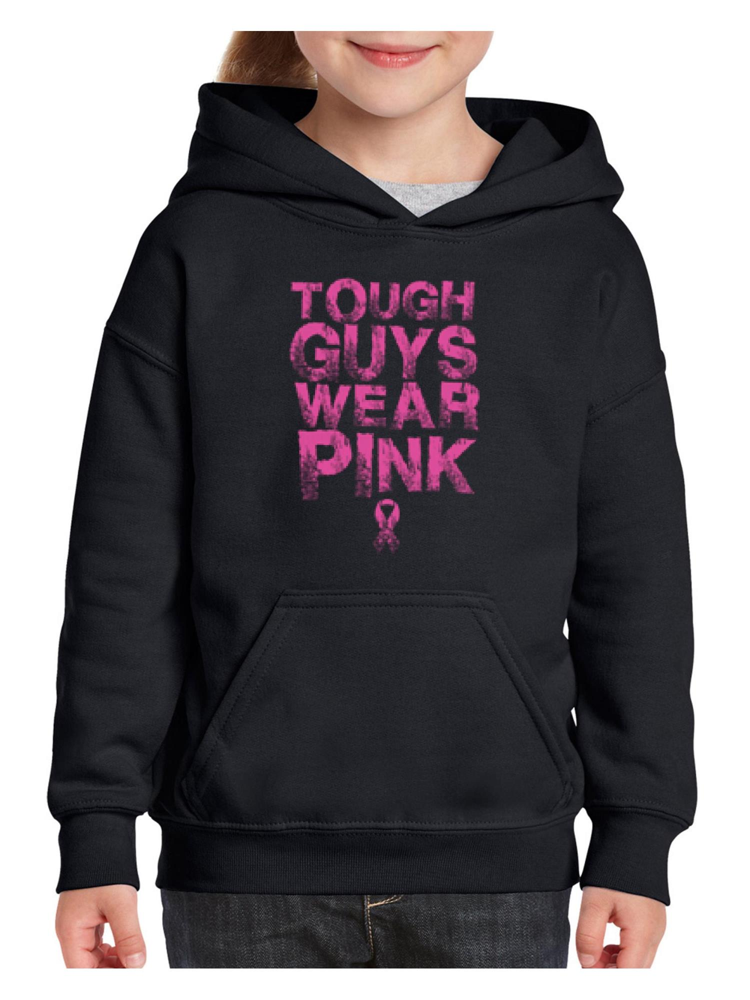Tough Guys Wear Pink Breast Cancer Awareness Unisex Hoodie For Girls and Boys Youth Sweatshirt