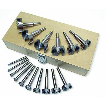 Forstner Drill Bit Set-16pc, Hardened and Tempered, High Carbon Steel Construction. Precision Machined Cutting Tips. By ucostore