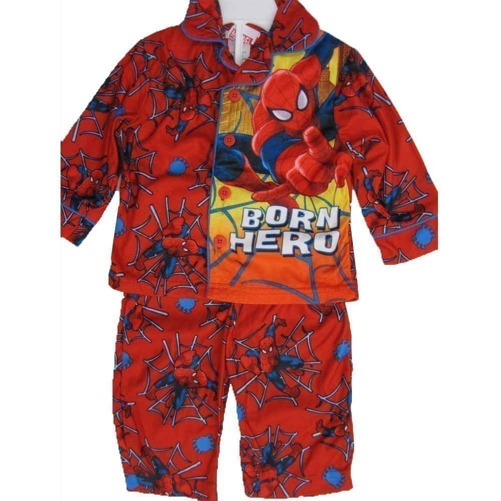 Little Boys Red Superhero Print Button Down 2 Pc Pajama Set 2T-5T