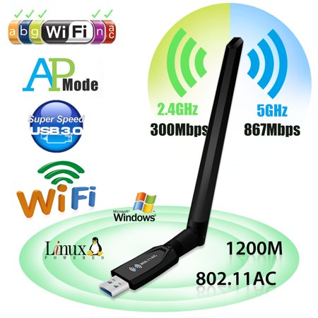1200Mbps USB WiFi Adapter Dual Band 2.4/5GHz Wireless Network Network w/ Antenna Wi-Fi Antennas USB 3.0 For Desktop Laptop Win XP/7/8/10/Vista/Android,MAC