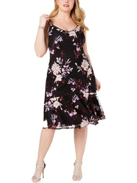 Adrianna Papell Womens Floral Sequined Cocktail Dress