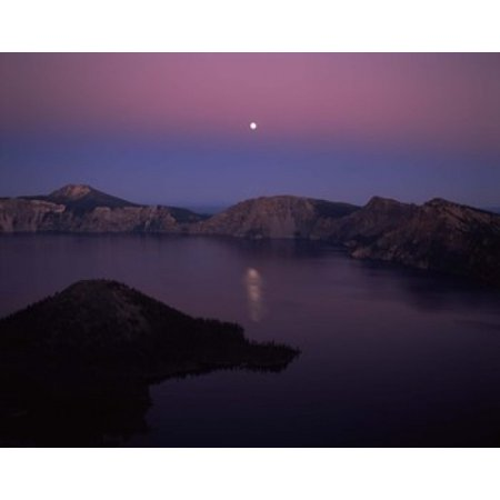 Moonrise over Wizard Island Crater Lake Crater Lake National Park Oregon USA Poster Print by Panoramic Images (36 x
