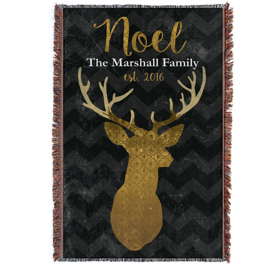 Noel Deer Personalized Throw Blanket