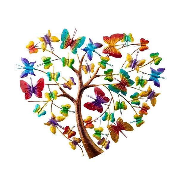 Handcrafted Colorful Butterfly Heart Tree Metal Wall Art Walmart Com Walmart Com