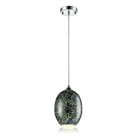 SereneLife AZSLLMP19 Pendant Light/Hanging Lamp Ceiling Light Fixture Sculpted Glass Lighting Accent