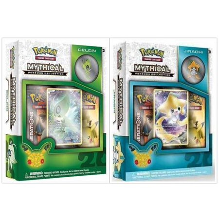 Pokemon Trading Card Game Jirachi & Celebi Mythical Collection Box Bundle. 1 of Each, including 2 Booster Packs from the Pokemon Generations 20th Anniversary Set and Rare Promo Card](Pokemon Container)
