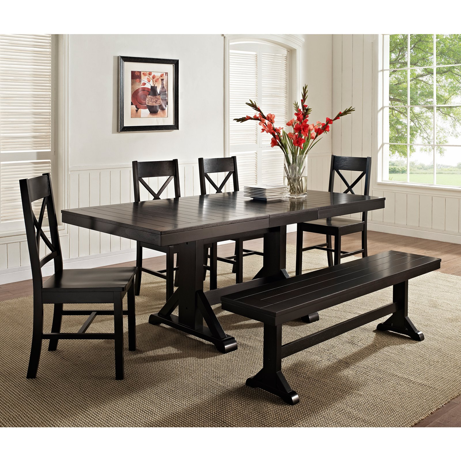 Captivating Walker Edison Black 6 Piece Solid Wood Dining Set With Bench   Walmart.com
