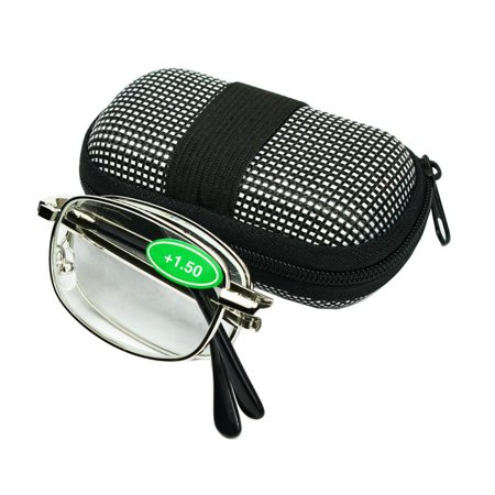 Magg Eyes Two way Foldable Readers in Portable Nylon Zip Cases Classic Silver Folding Reading Glasses for Men or Women (1 piece, (Mens Folding Reading Glasses With Hard Case)