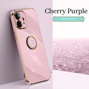 Cute Case for Apple iPhone 12, iPhone 12 Case 6.1 Inch, with Phone Ring Holder, Durable Silicone Case, Slim Fit Lightweight Thin Cover, Sturdy Anti-Scratch Protective Grip Stand Phone Case (Purple)