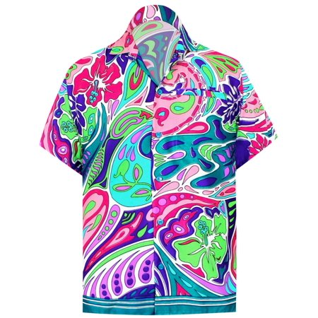 Paisley Button Front (Hawaiian Shirt Mens Beach Aloha Camp Party Holiday Button Down Pocket Paisley Print A )