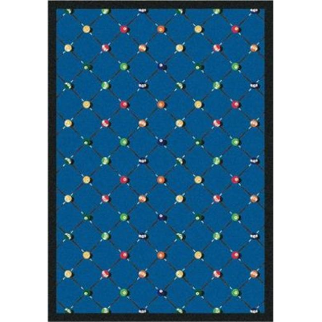 "Joy Carpets Games People Play - Gaming & Sports Area Rugs Billiards, 5'4"" x 7'8"", Blue"