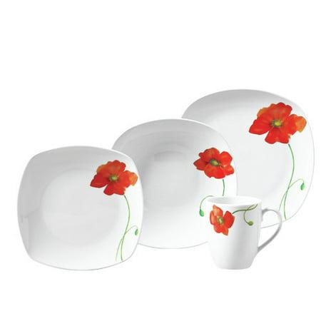 Tabletops Gallery Poppy 16 Piece Dinnerware Set, Service for 4 ...