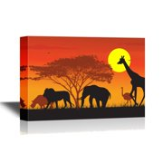 wall26 African Savanna Sunset Canvas Wall Art - Wild Animals and Acacia Tree on African Savannah at Sunset - Gallery Wrap Modern Home Decor | Ready to Hang - 16x24 inches