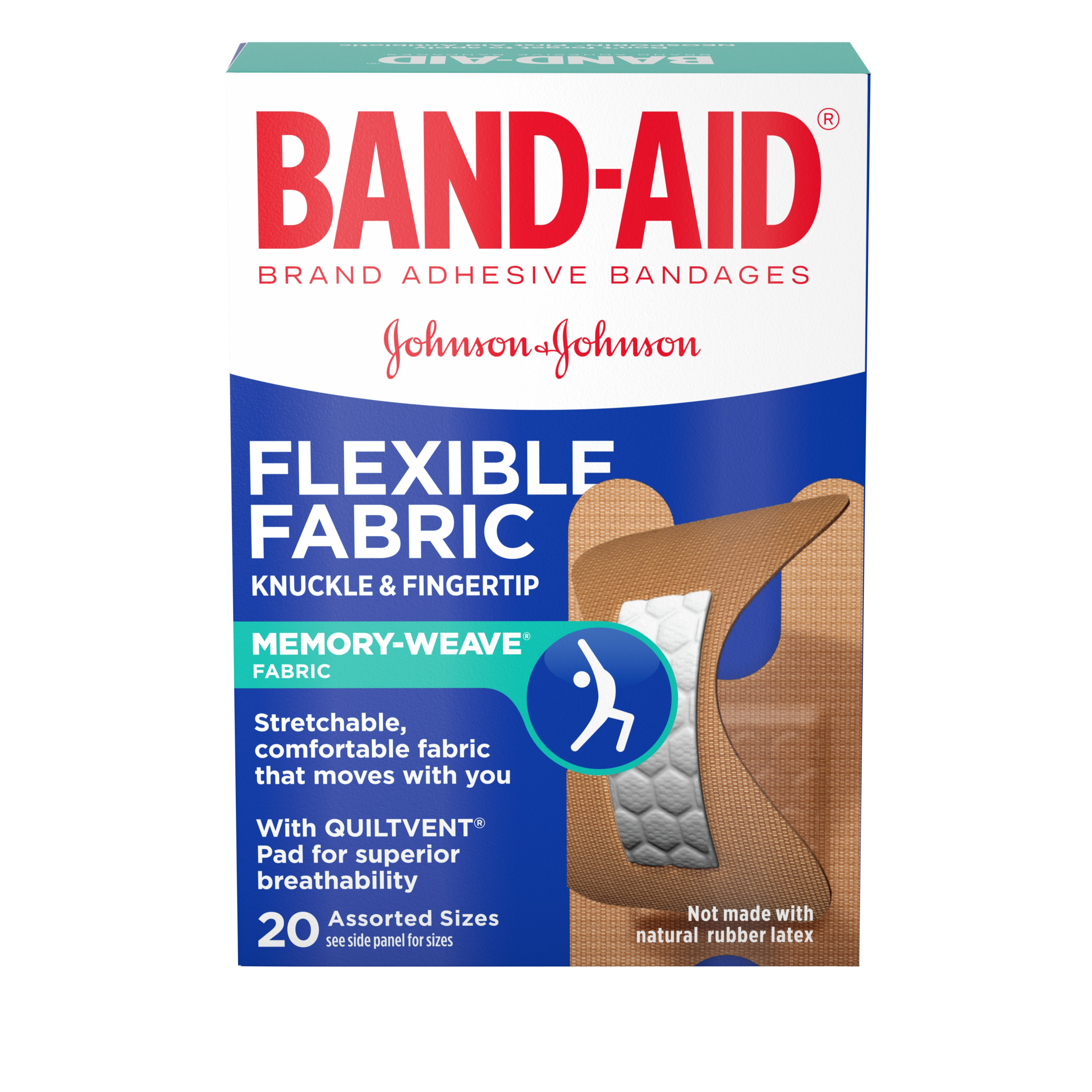 Band-Aid Brand Flexible Fabric Knuckle and Fingertip Adhesive Bandages, for Wound Care, Assorted Sizes, 20 Count
