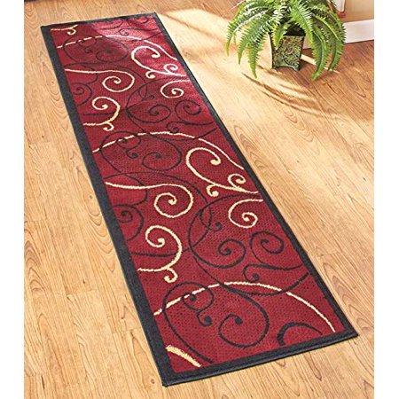 Extra long 23 x120 decorative runner rugs burgundy scroll - Extra long carpet runners ...
