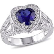 4-3/8 Carat T.G.W. Created Blue and White Sapphire Sterling Silver Halo Heart Engagement Ring