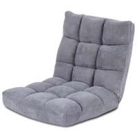 Costway Adjustable 14-Position Floor Chair Folding Lazy Gaming Sofa Chair Cushioned Gray