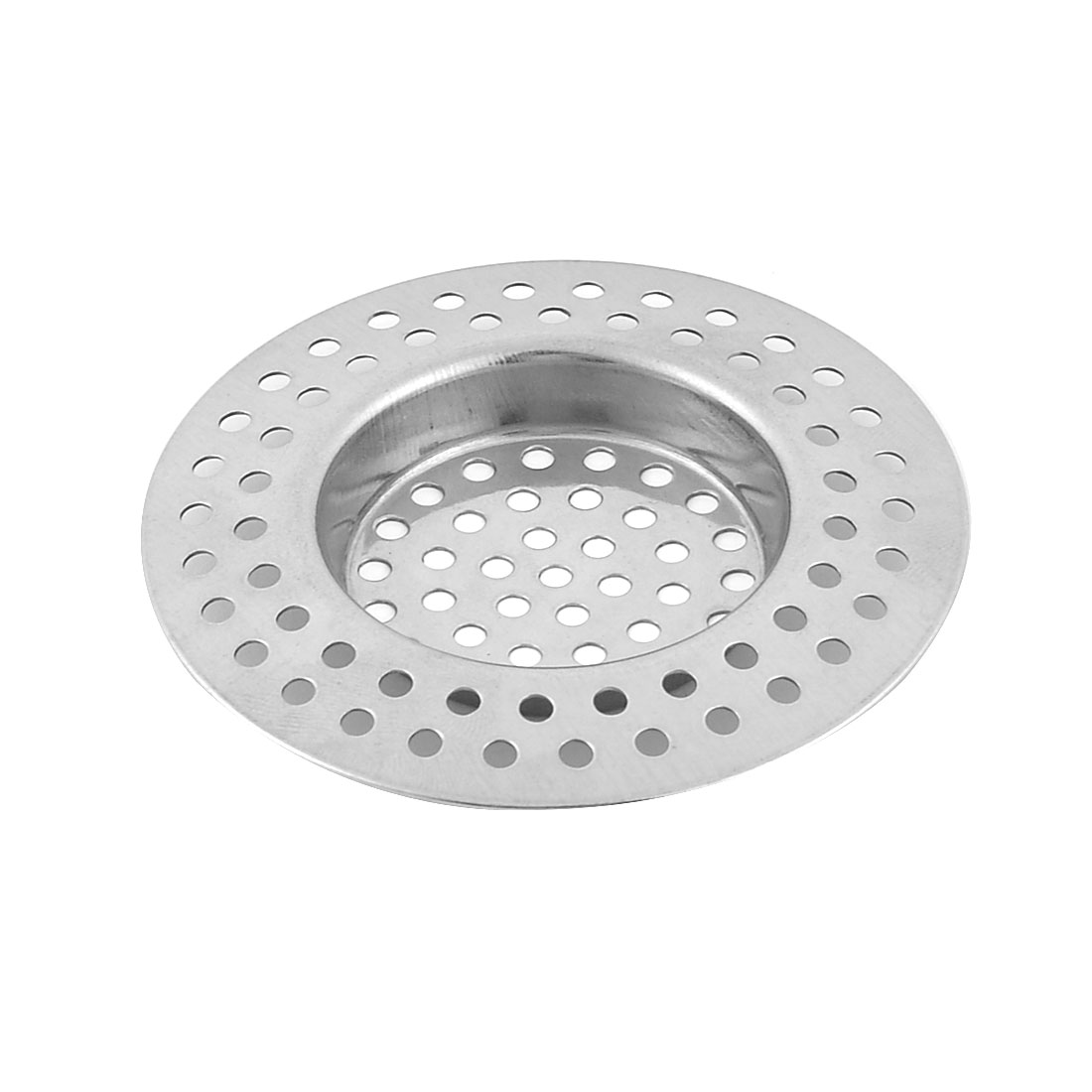 Home Kitchen Bathroom Metal Sink Drain Strainer Mesh Filter Basket Sliver Tone
