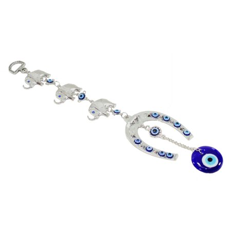 (Blue Evil Eye 3 Lucky Elephants Horse Shoe Amulet Protection Wall Hanging Decor)