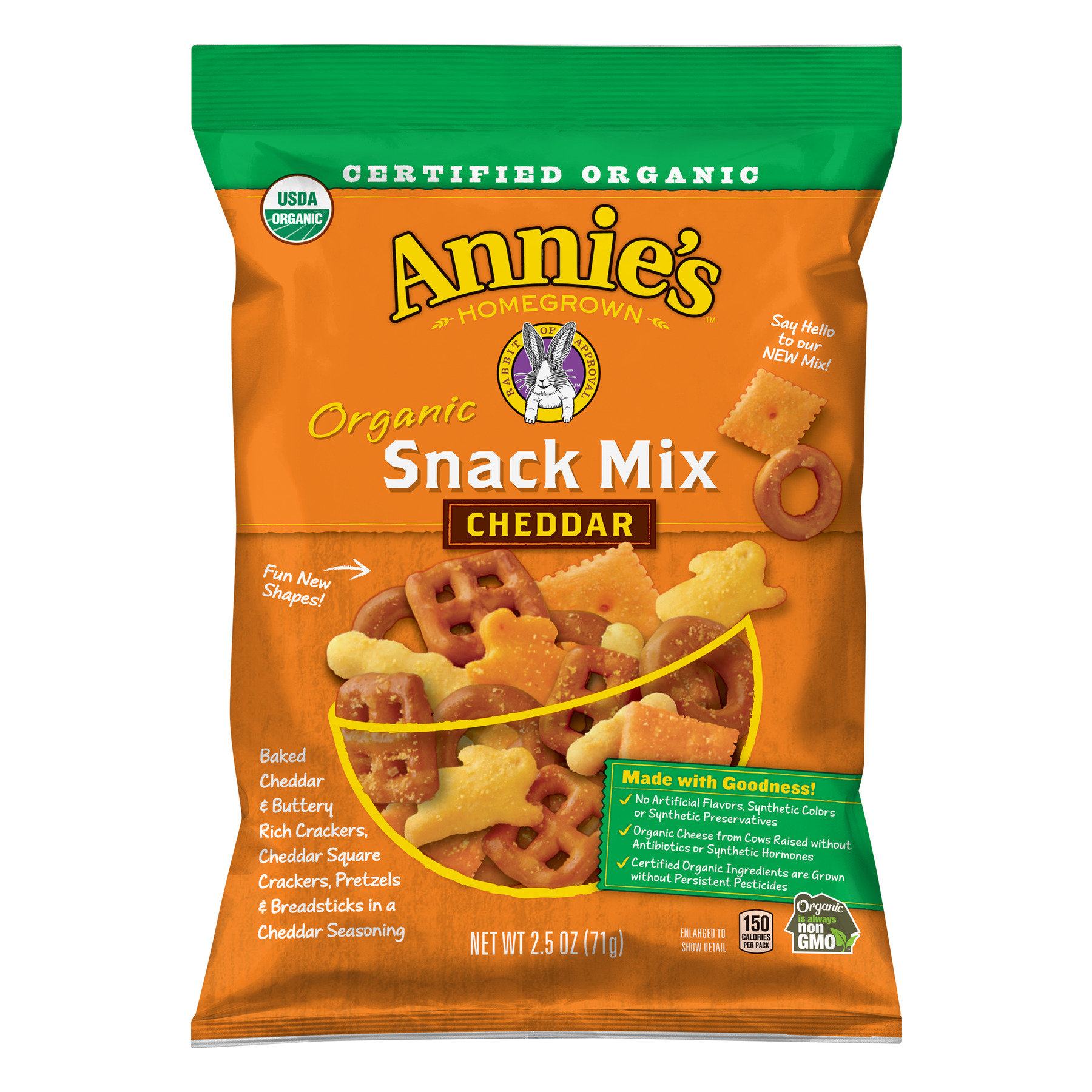Annie's Certified Organic Cheddar Snack Mix, 2.5 oz Box