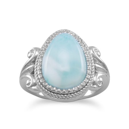 Sterling Silver 11.2mm X 15mm Pear Shape Larimar Ring Small Bead Around Stone