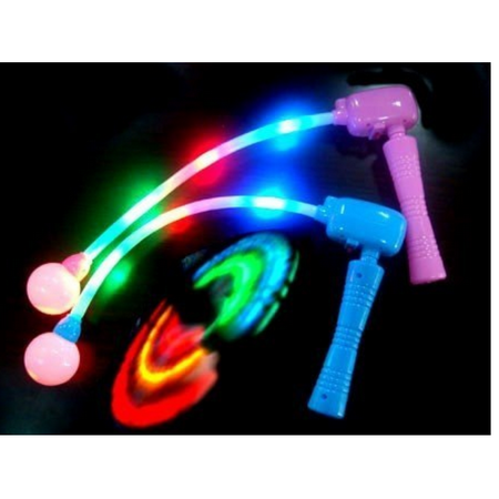 LWS LA Wholesale Store  12 Light-Up Spinning Ratchets LED Ball Matracas Flashing Spinners Wands - Led Rings Wholesale