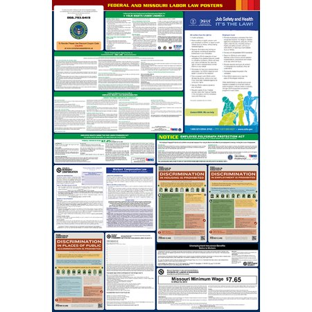 Compliance Assistance: 2018 Missouri State and Federal All-In-One Labor Law Poster- Up to Date, Thick Lamination, Compact, OSHA Compliant