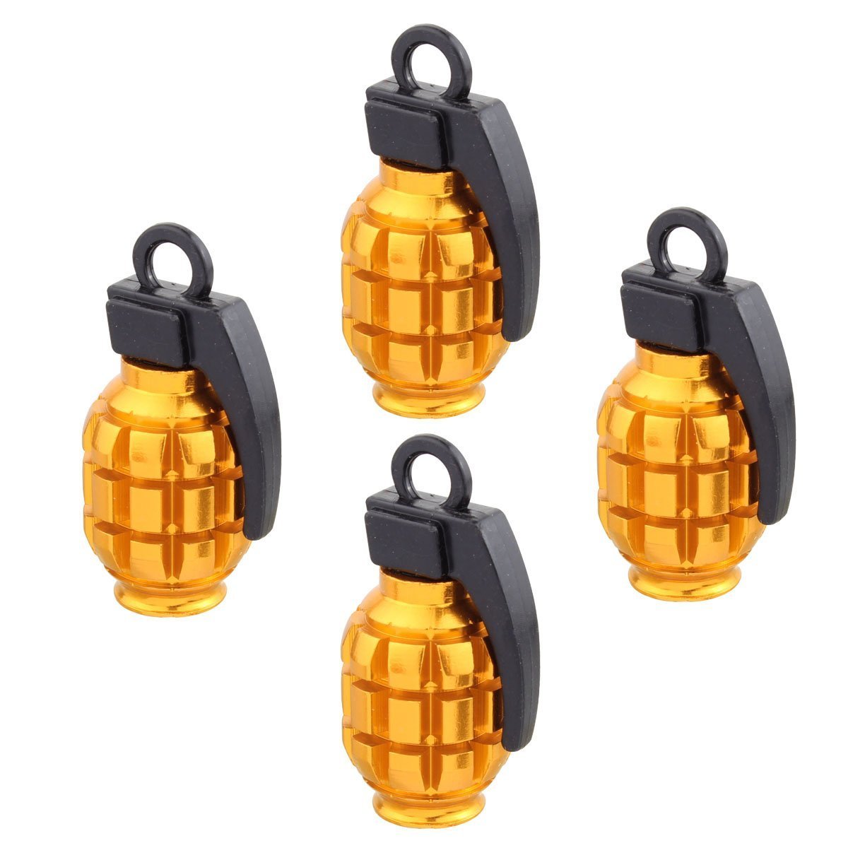 4pcs Universal Wheel Tyre Valve Caps Aluminum Grenade Bomb Shape Bicycle Tire Air Valve Cover for Car Truck Motocycle
