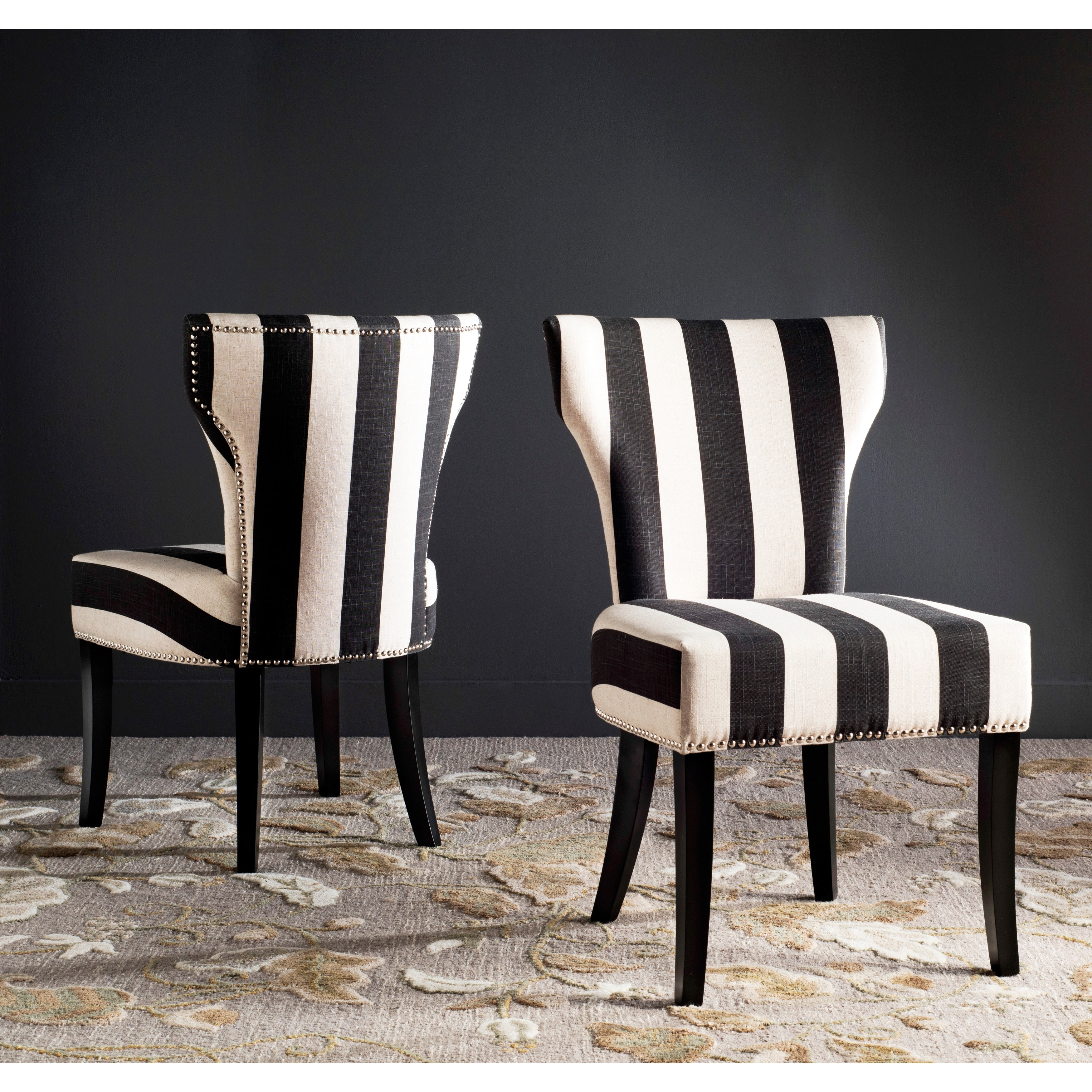 Safavieh Haver Black And Beige Striped Dining Chairs Set Of 2