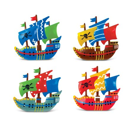 Bobble Metal Magnet - Pirate - Cardboard Pirate Boat