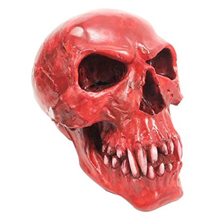 Gory Bloodlust Red Blood Bath Red Vampire Dracula Fanged Skull Figurine Statue - Scarecrow Vampire Fangs Small