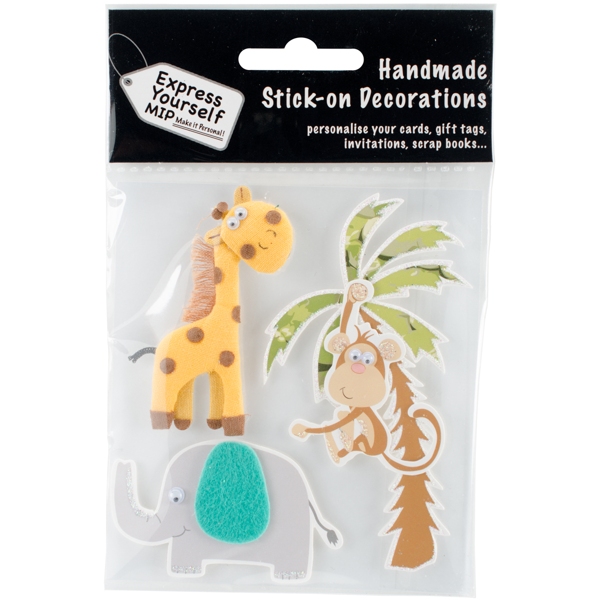 Express Yourself MIP 3D Stickers-Giraffe, Elephant & Monkey