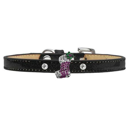 Holiday Charm Dog Collar Black Ice Cream Size 14 Purple Stocking